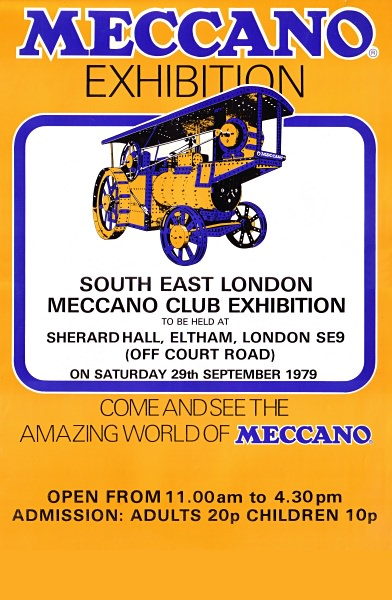 The poster for our first exhibition on 29th September 1979, printed for us by Meccano themselves