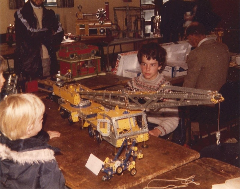 Neil Bedford with mobile crane at our first exhibition on 29th September 1979