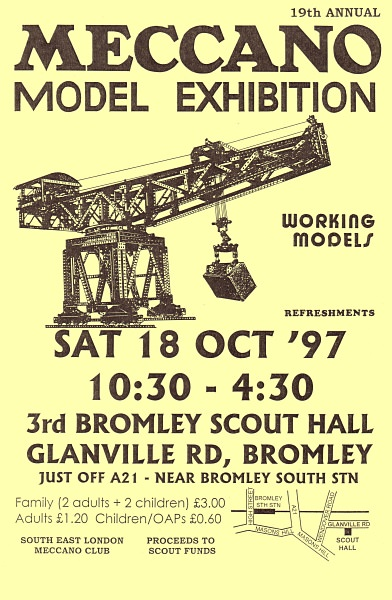 The poster for our 19th exhibition on 18th October 1997