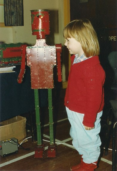 Chris Warrell's daughter Emma (aged 4) with a giant robot at our 12th exhibition on 31st March 1990