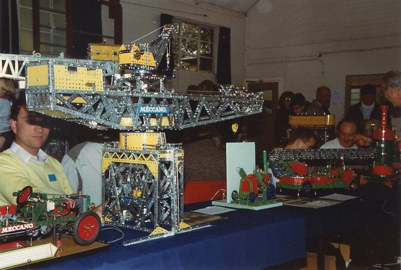 Andrew Couzens behind his block-setting crane at our 15th exhibition on 9th October 1993
