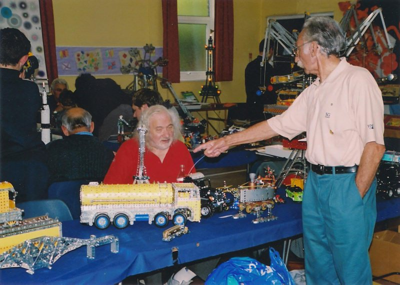George Foard points a finger at one of Geoff Carter's models at our 28th exhibition on 14th October 2006 at Eltham United Reformed Church