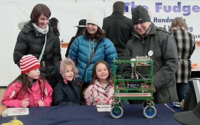 Allen Berman demonstrating his robot at a chilly Chatham Historic Dockyard as part of the Medway Festival of Steam and Transport on 31st March 2013