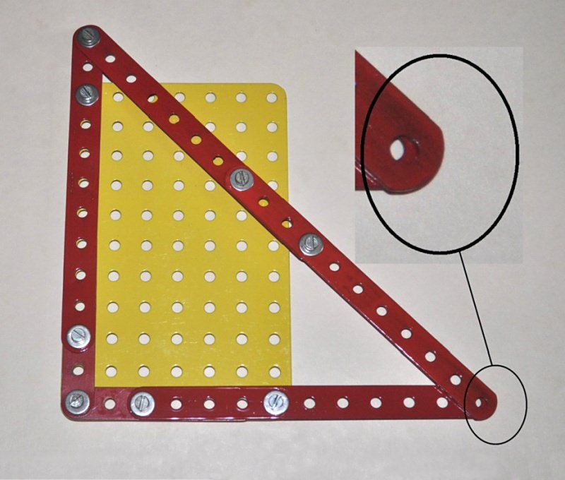 A 12, 13, 17 right-angle triangle in Meccano, showing that the final holes do not quite line up