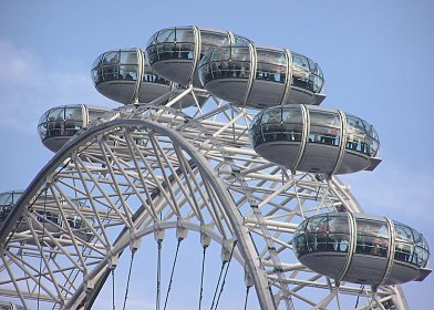Figure 4: The London Eye capsules, capsule mounting framework and circular wheel truss