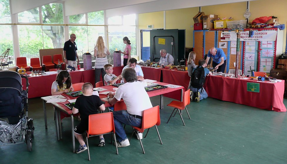 Our tables and the 'Make It With Meccano' workshop, here being supervised by Les