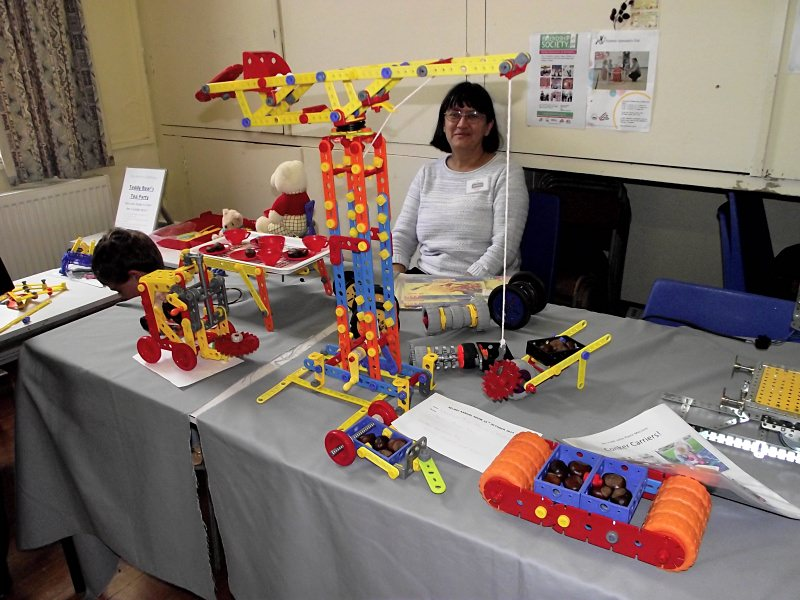 Viv Endecott's with her collection of plastic Meccano models