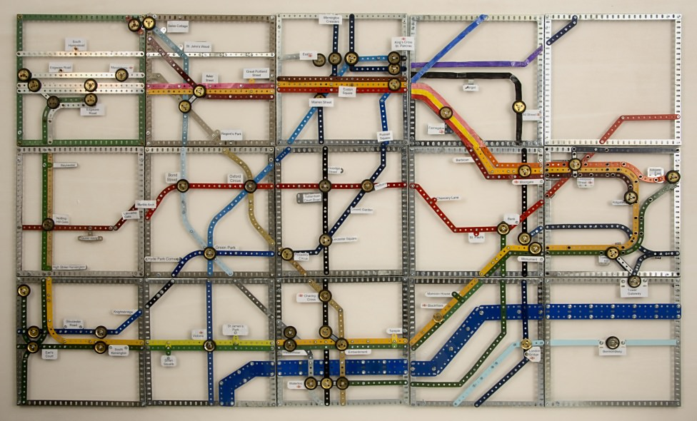 The completed Tube Map, assembled on a board by Ralph Laughton