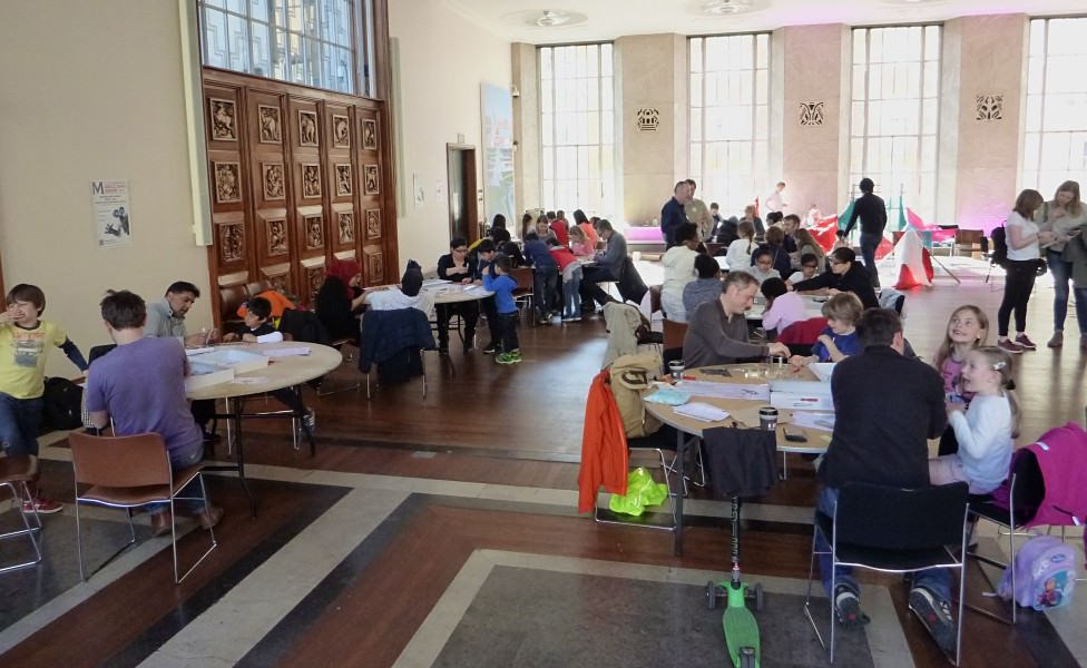 Families building bridges in the Florence Hall