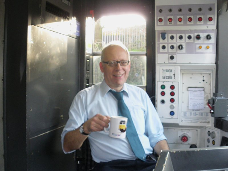 Chris Warrell on the footplate in 2014 (tea comes first!)