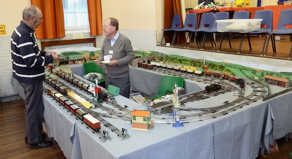 Adrian Ashford (right) with his Hornby model railway layout at the Vintage Hornby Train Show in 2015